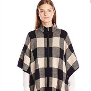 Jones New York Plaid Cape Poncho Sweater